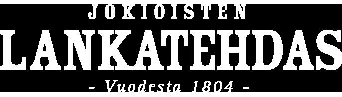 Jokoisten lankatehdas valkoinen vaaka logo